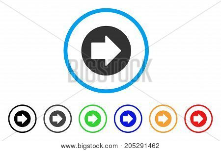 Right Arrow rounded icon. Style is a flat right arrow gray symbol inside light blue circle with black, gray, green, blue, red, orange versions. Vector designed for web and software interfaces.