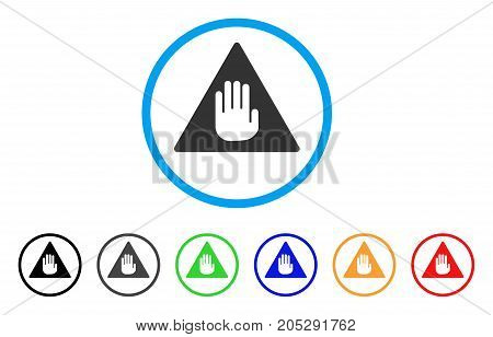 Caution rounded icon. Style is a flat caution gray symbol inside light blue circle with black, gray, green, blue, red, orange variants. Vector designed for web and software interfaces.