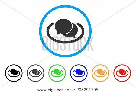 Chat rounded icon. Style is a flat chat gray symbol inside light blue circle with black, gray, green, blue, red, orange variants. Vector designed for web and software interfaces.
