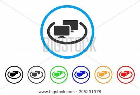 Intranet Computers rounded icon. Style is a flat intranet computers gray symbol inside light blue circle with black, gray, green, blue, red, orange color versions.