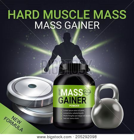Mass gainer ads. Vector realistic illustration of cans with mass gainer powder. Poster with product and sport equipment.