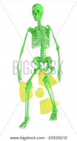 Green Skeleton And Radiation Symbol Isolated