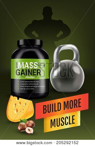 Mass gainer ads. Vector realistic illustration of cans with mass gainer powder with flavored nuts and cheese. Vertical poster with product and sport equipment.