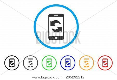 Refresh Smartphone rounded icon. Style is a flat refresh smartphone grey symbol inside light blue circle with black, gray, green, blue, red, orange variants.