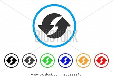 Refresh rounded icon. Style is a flat refresh gray symbol inside light blue circle with black, gray, green, blue, red, orange color versions. Vector designed for web and software interfaces.