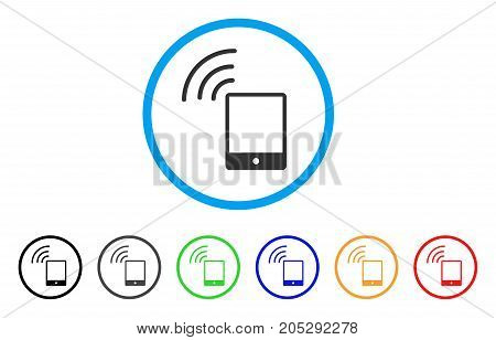 Smartphone Wi-Fi Signal rounded icon. Style is a flat smartphone wi-fi signal gray symbol inside light blue circle with black, gray, green, blue, red, orange versions.