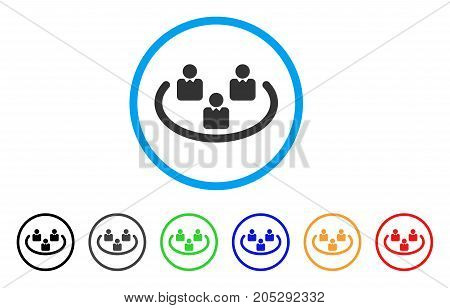 Social Networks rounded icon. Style is a flat social networks grey symbol inside light blue circle with black, gray, green, blue, red, orange versions. Vector designed for web and software interfaces.