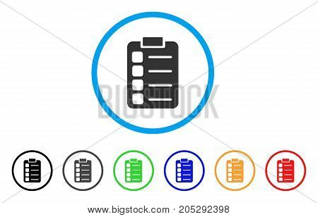 Tasks rounded icon. Style is a flat tasks grey symbol inside light blue circle with black, gray, green, blue, red, orange variants. Vector designed for web and software interfaces.