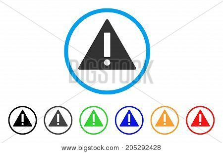 Warning rounded icon. Style is a flat warning grey symbol inside light blue circle with black, gray, green, blue, red, orange versions. Vector designed for web and software interfaces.