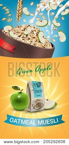 Oatmeal muesli ads. Vector realistic illustration of oatmeal muesli with green apple. Vertical banner with product.