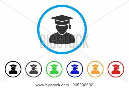 Knowledge Man rounded icon. Style is a flat knowledge man grey symbol inside light blue circle with black, gray, green, blue, red, orange versions. Vector designed for web and software interfaces.