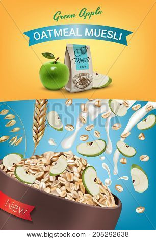 Oatmeal muesli ads. Vector realistic illustration of oatmeal muesli with green apple. Vertical poster with product.