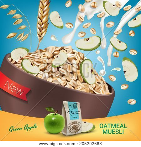 Oatmeal muesli ads. Vector realistic illustration of oatmeal muesli with green apple. Poster with product.