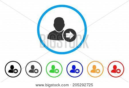 Next User rounded icon. Style is a flat next user gray symbol inside light blue circle with black, gray, green, blue, red, orange versions. Vector designed for web and software interfaces.