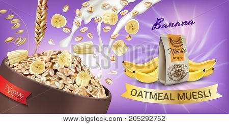 Oatmeal muesli ads. Vector realistic illustration of oatmeal muesli with banana. Horizontal banner with product.