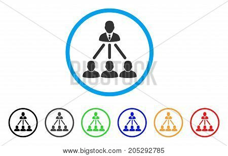 People Organization Structure rounded icon. Style is a flat people organization structure gray symbol inside light blue circle with black, gray, green, blue, red, orange versions.