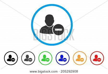 Remove User rounded icon. Style is a flat remove user gray symbol inside light blue circle with black, gray, green, blue, red, orange versions. Vector designed for web and software interfaces.