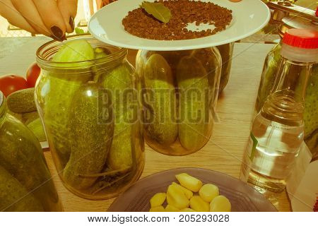 People are preparing in the kitchen. pickling cucumbers preparation for winter salting. Process of cucumber conservation - Retro color