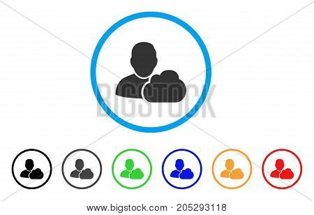 User Cloud rounded icon. Style is a flat user cloud gray symbol inside light blue circle with black, gray, green, blue, red, orange versions. Vector designed for web and software interfaces.