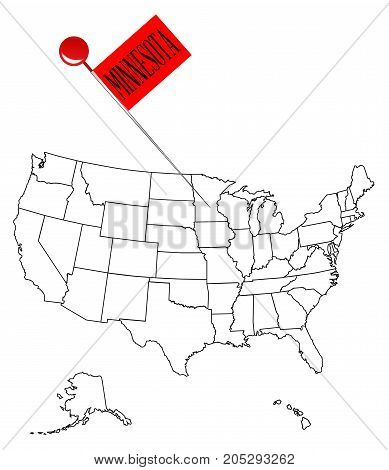 An outline map of USA with a knob pin in the state of Minnesota
