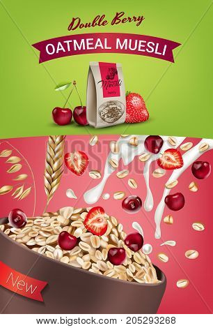 Oatmeal muesli ads. Vector realistic illustration of oatmeal muesli with double berry. Vertical poster with product.
