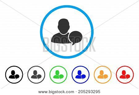 User Hint Balloon rounded icon. Style is a flat user hint balloon gray symbol inside light blue circle with black, gray, green, blue, red, orange versions.