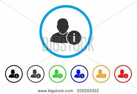 User Info rounded icon. Style is a flat user info grey symbol inside light blue circle with black, gray, green, blue, red, orange color versions. Vector designed for web and software interfaces.