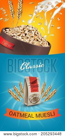 Oatmeal muesli ads. Vector realistic illustration of oatmeal muesli. Vertical banner with product.
