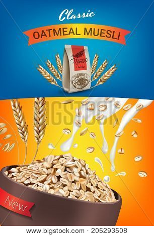 Oatmeal muesli ads. Vector realistic illustration of oatmeal muesli. Vertical poster with product.