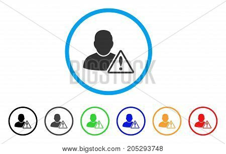 User Warning rounded icon. Style is a flat user warning grey symbol inside light blue circle with black, gray, green, blue, red, orange variants. Vector designed for web and software interfaces.