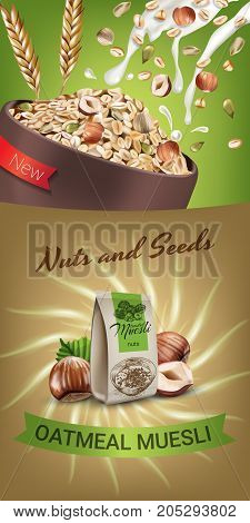 Oatmeal muesli ads. Vector realistic illustration of oatmeal muesli with nuts and seeds. Vertical banner with product.
