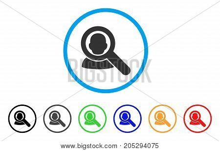 Find User rounded icon. Style is a flat find user grey symbol inside light blue circle with black, gray, green, blue, red, orange color versions. Vector designed for web and software interfaces.