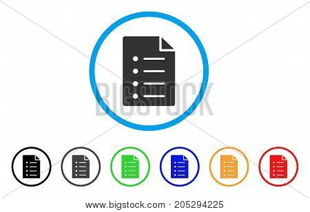 List Page rounded icon. Style is a flat list page gray symbol inside light blue circle with black, gray, green, blue, red, orange variants. Vector designed for web and software interfaces.