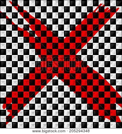 abstract colored background image consisting of lines with white black glossy blocks and red sign prohibition