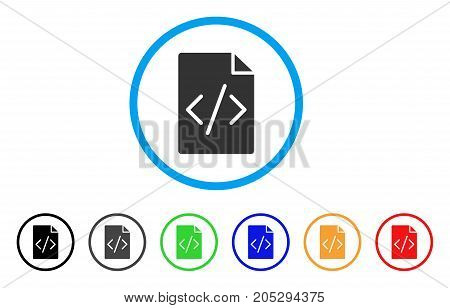 Programming Script Page rounded icon. Style is a flat programming script page grey symbol inside light blue circle with black, gray, green, blue, red, orange variants.
