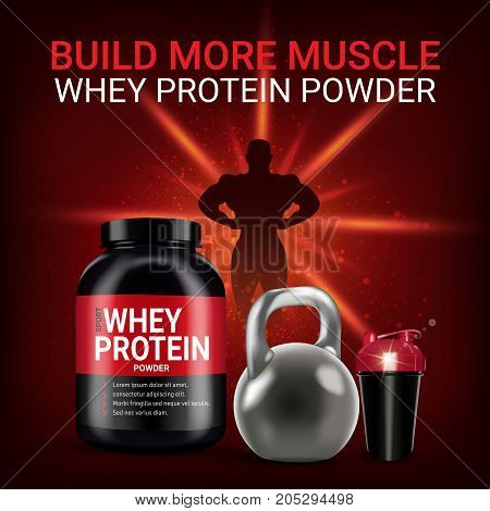 Protein cocktail ads. Vector realistic illustration of cans and shake with whey protein powder. Poster with product and sports equipment.
