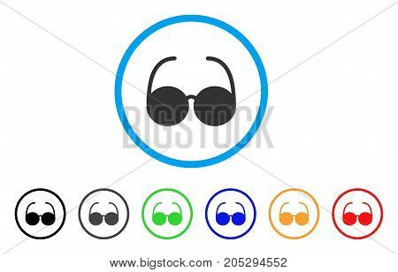 Sun Glasses rounded icon. Style is a flat sun glasses gray symbol inside light blue circle with black, gray, green, blue, red, orange versions. Vector designed for web and software interfaces.