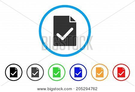 Valid Agreement Page rounded icon. Style is a flat valid agreement page gray symbol inside light blue circle with black, gray, green, blue, red, orange color versions.