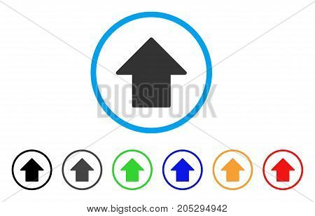 Arrow Up rounded icon. Style is a flat arrow up gray symbol inside light blue circle with black, gray, green, blue, red, orange versions. Vector designed for web and software interfaces.