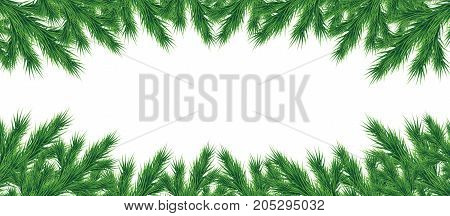 A long garland of Christmas tree branches for a Christmas decor. Branches close-up. Vector. Drawing. Nature details. Panorama. Postcard.