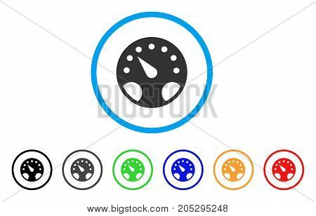 Gauge rounded icon. Style is a flat gauge gray symbol inside light blue circle with black, gray, green, blue, red, orange versions. Vector designed for web and software interfaces.