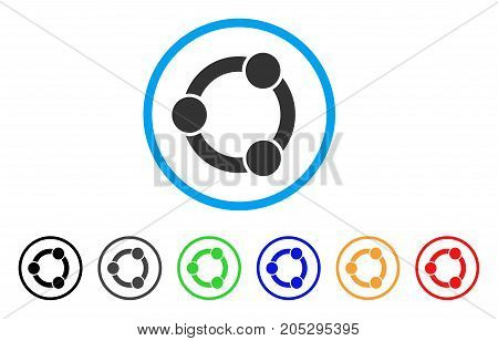 Network Relations rounded icon. Style is a flat network relations gray symbol inside light blue circle with black, gray, green, blue, red, orange color versions.