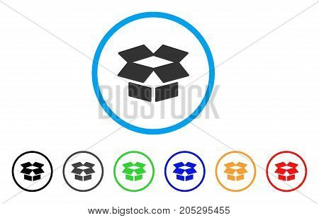Open Box rounded icon. Style is a flat open box grey symbol inside light blue circle with black, gray, green, blue, red, orange versions. Vector designed for web and software interfaces.