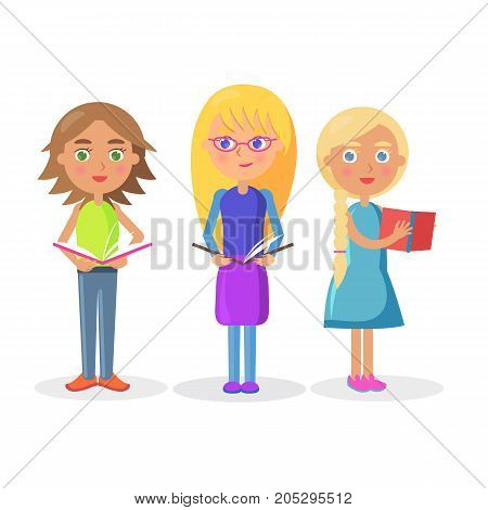 Three cute girls schoolgirls holding color open textbooks on white background vector illustration closeup flat design.