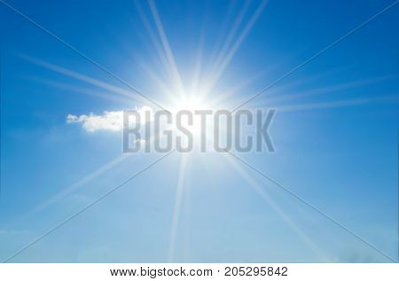 Blue Sky With Clouds And Sun Reflection.the Sun Shines Bright In The Daytime In Summer