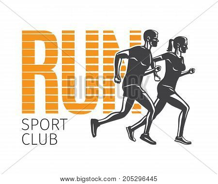 Run sport club logo template. Vector illustration of running man and woman editable elements logotypes in cartoon style flat design. Sportsmen healthy lifestyle. Place your sportclub company name.