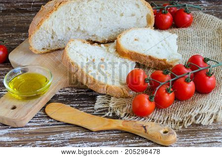 Typical Breakfast In Catalonia,bread With Tomato