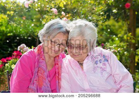 Two Cheerful Senior Women Embracing In Garden