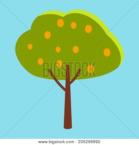 Tall tree with green leaves and small round orange fruits closeup icon on blue background vector illustration graphic design.