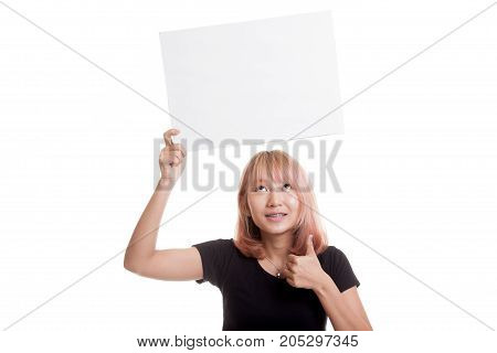 Young Asian Woman Show Thumbs Up With White Blank Sign.